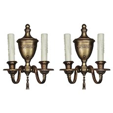 Pair of Antique Bronze Adam Style Double-Arm Sconces
