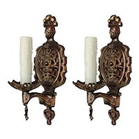 Pair of Antique Cast Iron Figural Sconces by Champion Lighting