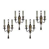 Exceptional Pairs of Antique Double-Arm Sconces, Signed E. F. Caldwell