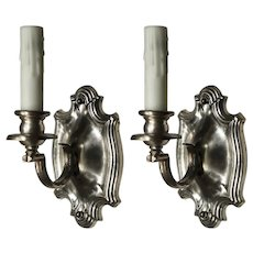 Antique Pair of Neoclassical Single-Arm Sconces, Silver-Plated