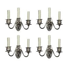 Matching Pairs of Antique Silver-Plated Three-Arm Sconces, c. 1905