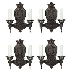 Matching Pairs of Antique Figural Double-Arm Sconces with Birds