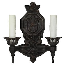 Antique Figural Double-Arm Sconce with Birds