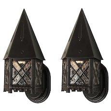 Handsome Pair of Antique Tudor Wall-Mount Lanterns, c.1920
