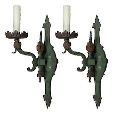 Pair of Antique Cast Bronze Single-Arm Sconces