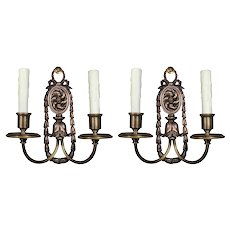 Antique Pair of Silver Plated Double-Arm Sconces, E.F. Caldwell
