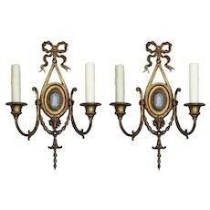 Pair of Antique Gilded Bronze Figural Sconces with Wedgwood Plaques, Early 1900's