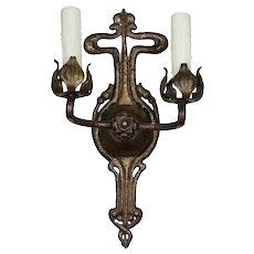 Antique Cast Brass Tudor Sconce, c. 1920