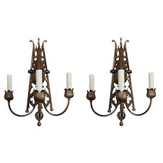 Pair of Substantial Antique Three Arm Sconces, Late 1800s