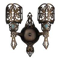 Antique Cast Double-Arm Bronze Sconce, c. 1920
