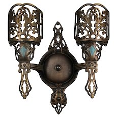 Antique Cast Double-Arm Bronze Sconce, c. 1920
