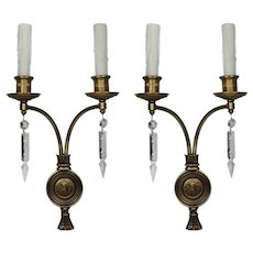Antique Bronze Figural Double-Arm Sconce Pair, Caldwell