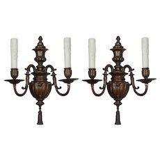 Pair of Antique Bronze Sconces by Caldwell