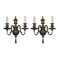 Pair of Antique Brass Sconces by Caldwell, c. 1915