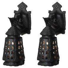 Pair of Antique Cast Iron Tudor Sconces