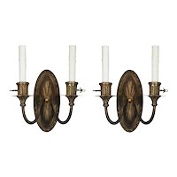 Pair of Antique Sconces in Bronze, E.F Caldwell