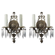 Pair of Antique Neoclassical Double-Arm Sconces with Prisms