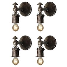 Matching Antique Cast Iron Tudor Sconce Pairs