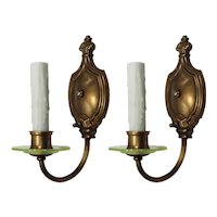 Pair of Antique Brass Sconces with Vaseline Glass