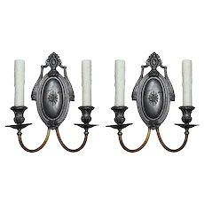 Neoclassical Double-Arm Sconces in Pewter and Brass, Antique Lighting