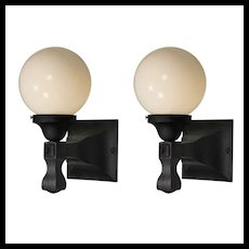 Pair of Antique Exterior Sconces with Glass Globes