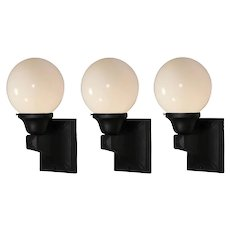 Matching Antique Exterior Sconces with Glass Globes