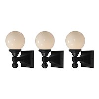 Matching Exterior Sconces with Glass Globes, Antique Lighting