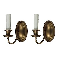 Pair of Antique Brass Single-Arm Sconces