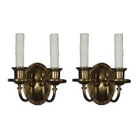 Pair of Brass Neoclassical Sconces, Antique Lighting