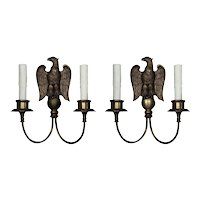 Pair of Antique Figural Sconces by E.F. Caldwell, Eagle