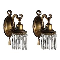 Pair of Antique Brass Neoclassical Sconces with Prisms