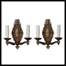Pair of Antique Gothic Revival Sconces, Shields & Castles