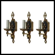 Set of Antique Two-Tone Cast Brass Sconces, c. 1920
