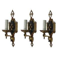 Set of Antique Two-Tone Cast Brass Sconces, c. 1920