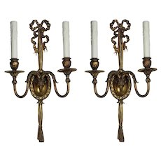 Antique Neoclassical Figural Bronze Sconces with Rams, E. F. Caldwell
