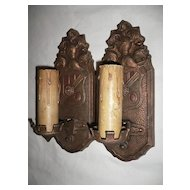 Gorgeous Pair of Antique Spanish Revival Figural Sconces, Markel Co.