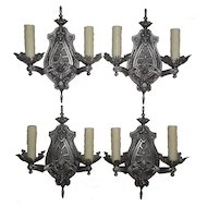 Striking Antique Spanish Revival Double-Arm Sconces - ONE PAIR  AVAILABLE