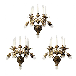 Magnificent Antique 19th Century Ten-Light Sconces, Gothic Revival