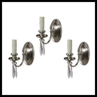 Antique Silver Plated Sconce with Prisms