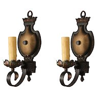 Marvelous Pair of Cast Iron Sconces with Original Polychrome