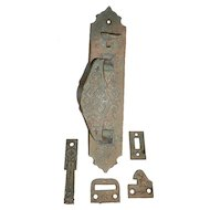 Fabulous Antique Cast Bronze Door Pull Set with Thumb Latch, Aesthetic Movement, 1880's