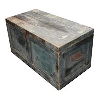 Blue Antique Wooden Trunk
