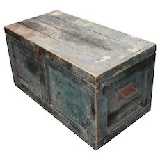 Blue Antique Wooden Trunk