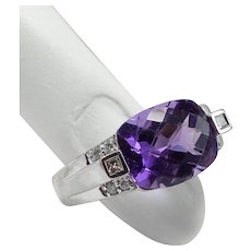 Cushion Cut Amethyst and Diamonds 14K WG Ring