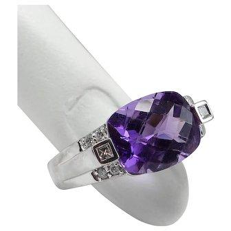 Cushion Cut Amethyst and Diamonds 14K WG Ring