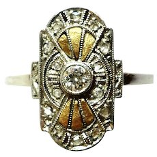 Art Deco Artistic Design .10ct VVS & Mine Cut Diamonds Platinum 18K Dress Ring