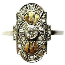 Art Deco Artistic Design .10ct VVS & Mine Cut Diamonds Platinum 18K Dress Ring