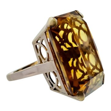 Scissor-Cut 26.5ct. Madeira Citrine 14K Retro Ring