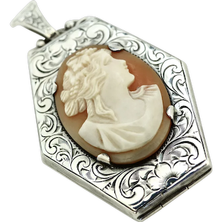 Antique Sterling Silver Engraved Cameo Locket