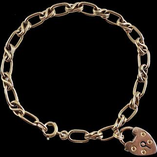 """Edwardian Watchchain Bracelet - 14K - 7 3/4"""" - Heart Padlock"""